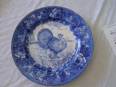 WEDGEWOOD ETRURIA FLOW BLUE PLATE WITH TURKEY