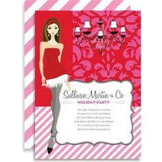 pink + red brocade girl #office #business #corporate #holiday #party #invitation