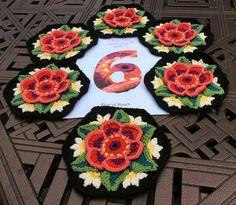 Frida's Flowers Blanket  Hexagon Number  6   ***  Credit: G. Coles