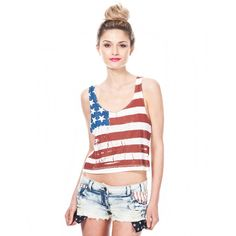 Soul Cal Deluxe Flag Crop Top ($6.64) ❤ liked on Polyvore featuring tops, models, shirts, outfits, america, star print top, jersey shirts, print top, relaxed fit shirt and relax shirt