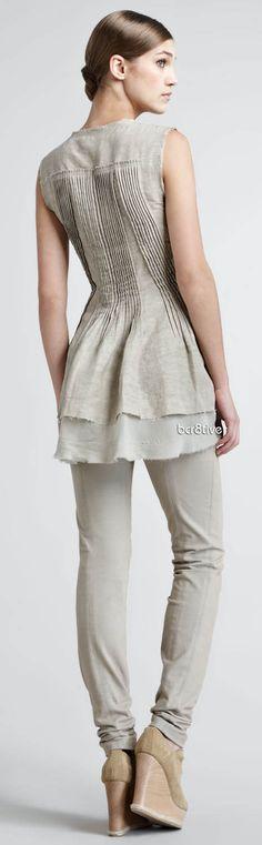 Donna Karan Vintage Pintucked Tunic & Seamed Stretch-Cotton Leggings