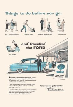 VINTAGE FORD CAR Ad Classic Mid Century Ad by EncorePrintSociety