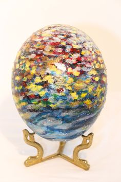 Check out these works of art created by my mother-in-law. Spotted Painted Ostrich Egg by SusanShipmanFineArt on Etsy