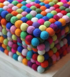 Felt Ball Coasters - Buy your felt balls from www.bloomingfelt.co.uk and make your own felt coasters