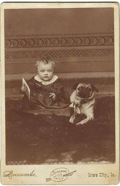 Baby with pug in Iowa City. 1880's
