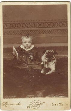 Late 1880s  Baby with pug in Iowa City, IA.