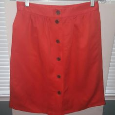 """J Crew Linen Blend Orange Skirt Size 2 Beatififul citrus orange color skirt. Perfect for summer!  Fully Lined  Waist: 28"""" Hips: 36"""" Length: 21"""" Excellent condition! J. Crew Skirts A-Line or Full"""
