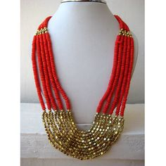 Coral Beaded Statement Necklace / Bib Necklace - Beaded Jewelry. $27,90, via Etsy.