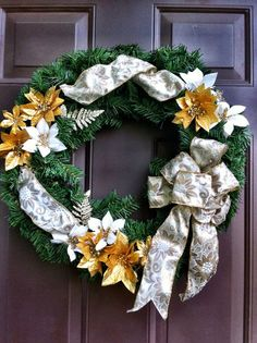 Christmas Wreath Front Door Hanging  Floral by WeHaveWreaths, $50.00