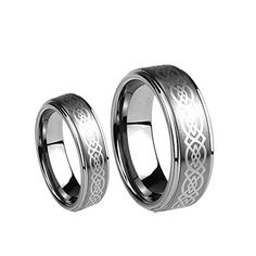 Men  Ladies 8MM6MM Tungsten Carbide Wedding Band Ring Set wLaser Etched Celtic Design Available Sizes 414 Including Half Sizes Please email sizes ** Click image for more details.