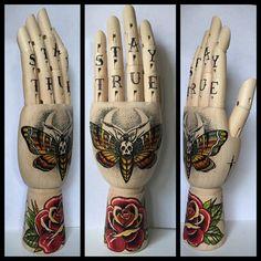 Wooden hand Death's head moth / rose / spiderweb / door Inkspirednl