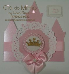Convite Castelo e Coroa Princess.                                                                                                                                                      Mais