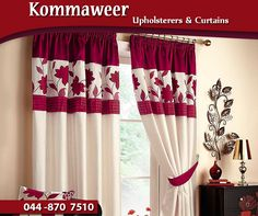 Curtains mounted correctly will enhance your décor and make your room feel bigger. Contact #Kommaweer on 044 870 7510 for assistance with custom-made curtains to suit your style. #decor #curtains