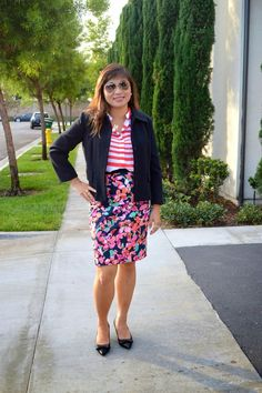 Floral skirt + stripe top