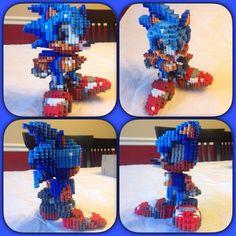 Sonic The Hedgehog perler beads by eightbitbert on DeviantArt Hama Beads 3d, Pokemon Perler Beads, 3d Perler Bead, Pearler Beads, Fuse Beads, Sonic The Hedgehog, Aliens, Hedgehog Birthday, Perler Bead Designs