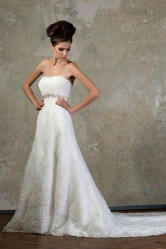 2015 Strapless Column Wedding Dresses Tulle With Applique And Beads US$ 289.99 TPPPE588H3 - TonyPromDresses.com for mobile