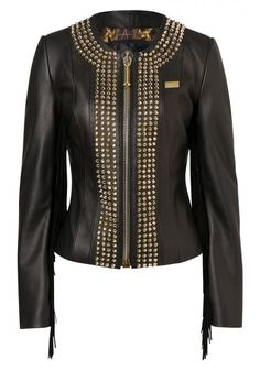 Philipp Plein - 'Cowboy Style' Leather Jacket Black | Amazing cowgirl leather jacket with fringe. This piece is even enriched by the four-row cone studded application of the season and by the hexagonal PHILIPP PLEIN logo on the back. Wear it with jeans and high heels to look stunning.