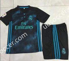 2017-18 Real Madrid Away Black Kids/Youth Soccer Uniform