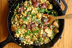 Sweet Corn Hash, in the recipe: Listen… it'll go all over the kitchen floor as you slice it off the cob.  It just will.  Hopefully your cat eats corn.  Mine does.  Weird. lol