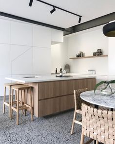 Now THIS is a kitchen I could see myself in! Polished concrete floors, marble bench tops, industrial track lighting and floor to ceiling… Concrete Furniture, Concrete Floors, Industrial Track Lighting, Industrial House, Kitchen Lighting, Big Kitchen, Kitchen Ideas, Kitchen Inspiration, Vaulted Ceiling Kitchen