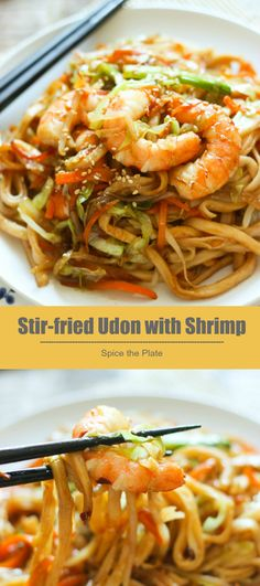 Delicious stir-fried udon noodles with shrimp, impress your family and friends with your Asian cooking skills!