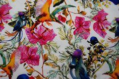 KN18/19 14719-020 Tricot bloemen/vogels wit/multi