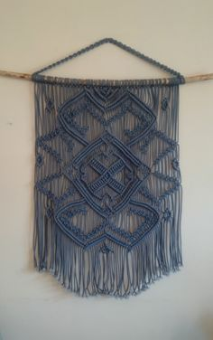Blue macrame wall hanging on a tree branch, large macrame wall hanging blue, macrame large, macrame wall art, vintage art, modern macrame by TheWovenDreamFactory on Etsy https://www.etsy.com/listing/278327650/blue-macrame-wall-hanging-on-a-tree