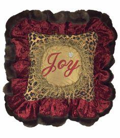 Christmas Pillow Joy Leopard Print Ruffled