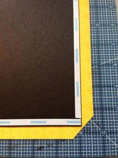 Trim paper at corners as shown.