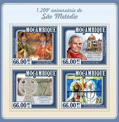 Post stamp Mozambique MOZ 15121 a1200th anniversary of Saint Methodius (Saints Cyril and Methodius holding the Cyrillic alphabet, Mural painting by Z. Zograf, Troyan Monastery, Bulgaria, {…}, Cyril and Methodius, stained glass window at  the cathedral  of Maribor, Slovenia)