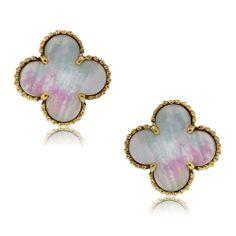 Van Cleef & Arpels 18k Yellow Gold Mother of Pearl Alhambra Earrings