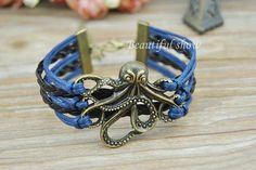 Retro bronze Octopus charm braceletNavy blue wax by BeautifulShow, $3.99 Fashion charm handmade personalized bracelet, the best gift.