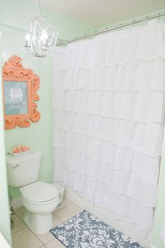 Just finished my girls bathroom make-over using the colors mint, coral, grey, and white. My New Room, My Room, Girl Room, Coral Shower Curtains, White Ruffle Shower Curtain, White Shower, Coral Bathroom, Mermaid Bathroom, Mint Walls
