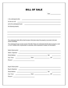 Free Printable Blank Bill Of Sale Form Template As Is Bill Of Sale - Law forms for personal use