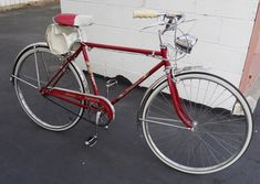 """1961 Schwinn Traveler - Take a look at this near-mint condition 1961 Schwinn Traveler! Painted """"Radiant Red"""" with the original decals, polished stainless-steel fenders, rare Cycling Equipment, Cycling Bikes, Townie Bike, Beer Opener, Old Bikes, Bike Style, Pedal Cars, Riding Gear, Vintage Bicycles"""