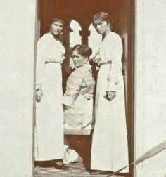 "Empress Alexandra Feodorovna of Russia with her two eldest daughters,the Grand Duchesses Tatiana and Olga Nikolaevna Romanova of Russia at Livadia in 1913. ""AL"""