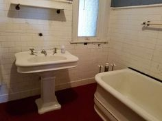 526-e-main-st-29 Old Bathrooms, Vintage Bathrooms, 2 Story Houses, Old House Dreams, In Ground Pools, Plumbing, Sink, Woodworking, Bathroom Ideas