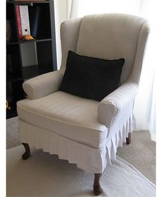 My Wing Chair Slipcover Reveal! I made a wing chair slipcover using some old bed sheets. It was my first slipcover and turned out great! & NO SEW wing chair slipcover. | Made by hand... | Pinterest | Chair ... islam-shia.org