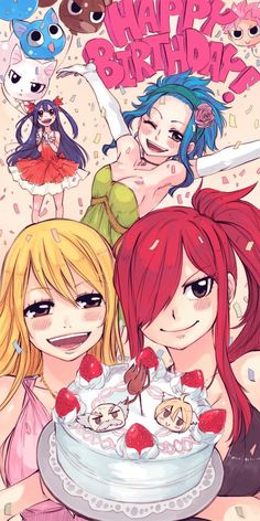 Fairy Tail- Wendy, Levy, Lucy, and Erza :) Happy, Pantherlily, Charle, and Natsu as balloons