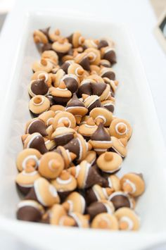 Chocolate kiss acorns! Woodland Animal 1st birthday party with SUCH SWEET IDEAS via Kara's Party Ideas   Cakes, favors, games, printables, and more! KarasPartyIdea...