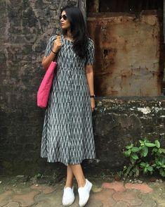 Here is simple n casual look kurta You can wear it as a simple pretty dress or as a kurta with leggings Kalamkari Dresses, Ikkat Dresses, Kurta Designs Women, Salwar Designs, Frock Fashion, Fashion Dresses, Dress Outfits, Frock For Women, Western Dresses For Women