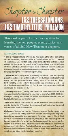 Chapter to Chapter - 1 & 2 Thessalonians, 1 & 2 Timothy, Titus, Philemon (Pack of Info-Cards or Oversize Bookmarks Bible Study Notebook, Bible Study Tools, Bible Study Journal, Scripture Study, Timothy Bible, 1 Timothy, Bible Doctrine, Bible Teachings, Bible Notes