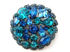 Signed Weiss Blue Rhinestone Round Vintage Jewelry Pin