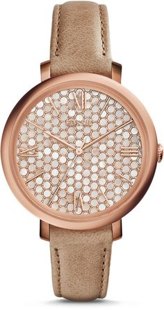 Jacqueline Beige Leather Watch