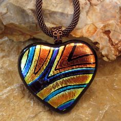Fused Glass Heart Pendant Dichroic Fused Glass Hand by GlassCat,