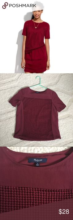 """Madewell Meshknot Top Maroon Size Small Madewell Meshknot Top Maroon Size Small. Sporty crocheted mesh and ladylike silk combine for a uniquely modern, understated tee. T-shirt fit. Silk. Excellent used condition. Length: 22.25"""" shoulder to hem. Part of the bottom hem is coming undone. Priced accordingly. Madewell Tops"""