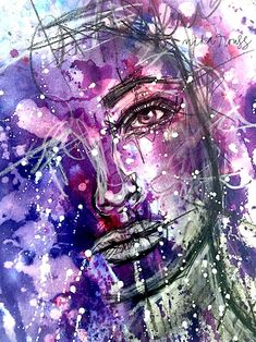 WATERCOLOR FACE DRAWING – Mixed Media Art Tutorials #watercolorarts