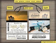 Save The Date Lift Ticket Invitation Custom Ski by EmpireInvites, $2.25 sports save the dates, baseball save the dates #wedding #sports