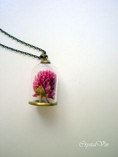 Bottle necklace, glass vial necklace, fantasy necklace, flower necklace, tiny bottle, mini botella, collier boitelle de verre, vial, spring