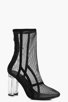 boohoo Bethany Clear Cylinder Heel Mesh Shoe Boot
